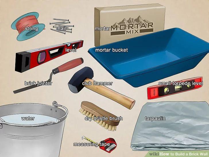 وسایل و ابزارهای مورد نیاز برای چیدمان آجر